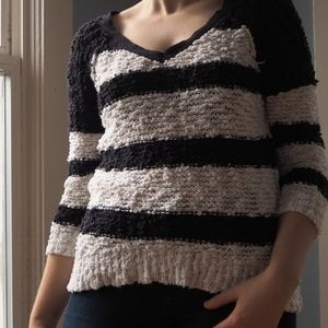 Free People Black and White Striped Sweater